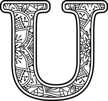 początkowe u w czerni i bieli z ozdobami doodle i elementami projektu ze stylu sztuki mandali do kolorowania. Na białym tle Ilustracje wektorowe