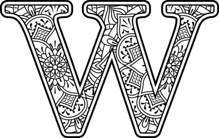 initial w in black and white with doodle ornaments and design elements from mandala art style for coloring. Isolated on white background Векторная Иллюстрация