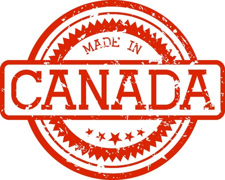 made in canada grunge rubber stamp in red color isolated on white background Çizim