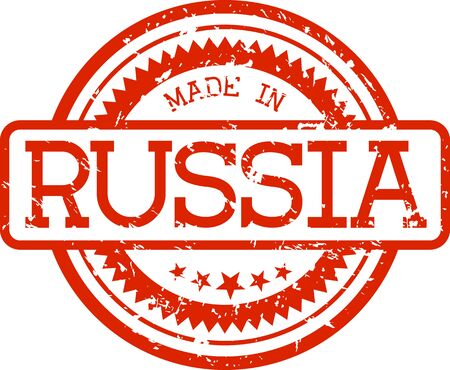 made in russia grunge rubber stamp in red color isolated on white background
