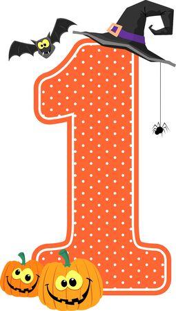 numéro 1 avec des citrouilles souriantes et des éléments de conception d'halloween isolés sur fond blanc. peut être utilisé pour la décoration de la chambre d'enfant ou l'invitation à l'halloween