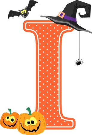 capital letter i with smiling pumpkins and halloween design elements isolated on white background. can be used for halloween season card, nursery decoration  or halloween paty invitation