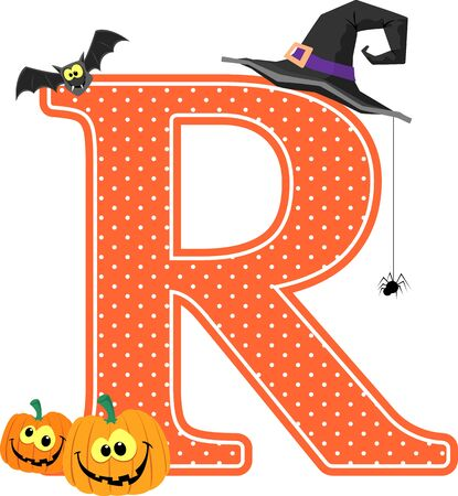 capital letter r with smiling pumpkins and halloween design elements isolated on white background. can be used for halloween season card, nursery decoration or halloween paty invitation