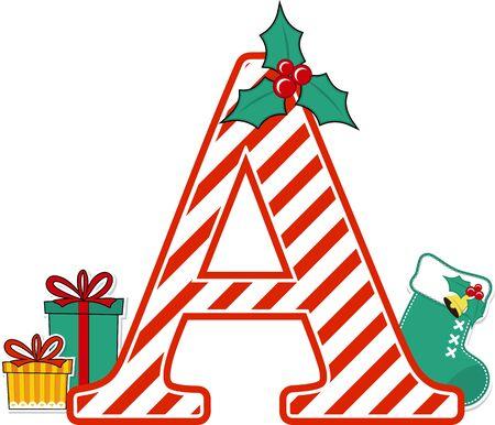 Großbuchstabe a mit roten und weißen Zuckerstangenmuster und Weihnachtsgestaltungselementen isoliert auf weißem Hintergrund. kann für Weihnachtskarten, Kinderzimmerdekoration oder Weihnachtspaty-Einladung verwendet werden