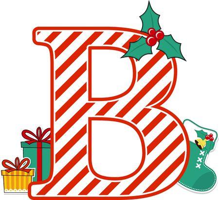 lettre majuscule b avec motif de canne en bonbon rouge et blanc et éléments de conception de noël isolés sur fond blanc. peut être utilisé pour une carte de vacances, une décoration de pépinière ou une invitation à un pâté de Noël