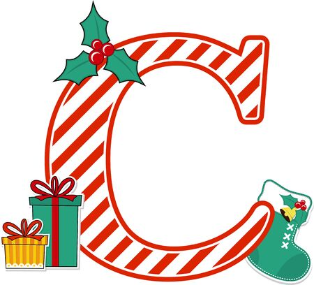 capital letter c with red and white candy cane pattern and christmas design elements isolated on white background. can be used for holiday season card, nursery decoration or christmas paty invitation