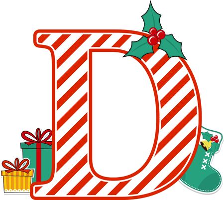 capital letter d with red and white candy cane pattern and christmas design elements isolated on white background. can be used for holiday season card, nursery decoration or christmas paty invitation Çizim