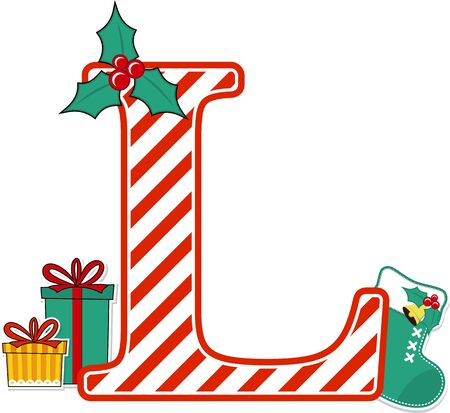 capital letter l with red and white candy cane pattern and christmas design elements isolated on white background. can be used for holiday season card, nursery decoration or christmas paty invitation