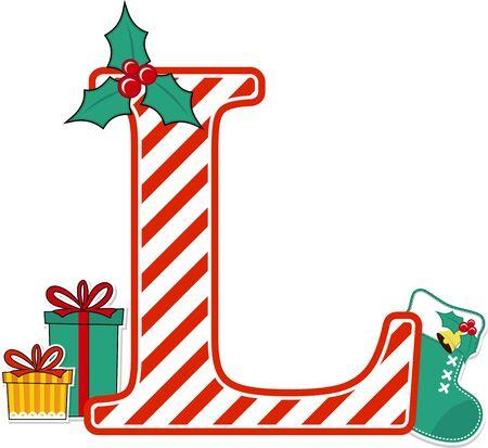 Wielka litera lz czerwony i biały wzór candy cane i elementy projektu Boże Narodzenie na białym tle. może być używany do kartki świątecznej, dekoracji przedszkola lub zaproszenia na boże narodzenie! Ilustracje wektorowe