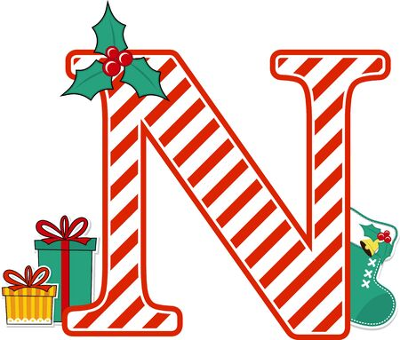 capital letter n with red and white candy cane pattern and christmas design elements isolated on white background. can be used for holiday season card, nursery decoration or christmas paty invitation