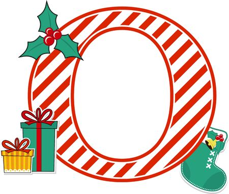 capital letter o with red and white candy cane pattern and christmas design elements isolated on white background. can be used for holiday season card, nursery decoration or christmas paty invitation
