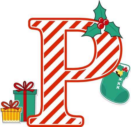 capital letter p with red and white candy cane pattern and christmas design elements isolated on white background. can be used for holiday season card, nursery decoration or christmas paty invitation