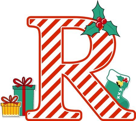 capital letter r with red and white candy cane pattern and christmas design elements isolated on white background. can be used for holiday season card, nursery decoration or christmas paty invitation