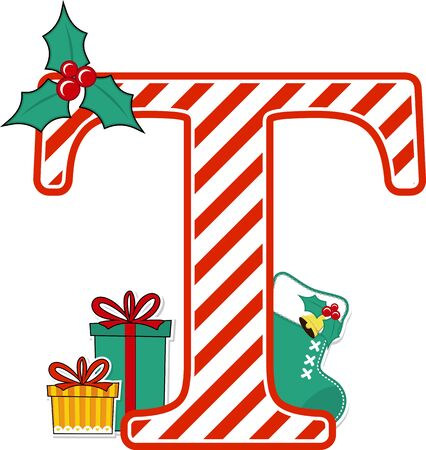 capital letter t with red and white candy cane pattern and christmas design elements isolated on white background. can be used for holiday season card, nursery decoration or christmas paty invitation