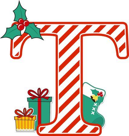 Großbuchstabe t mit rotem und weißem Zuckerstangenmuster und Weihnachtsgestaltungselementen lokalisiert auf weißem Hintergrund. kann für Weihnachtskarten, Kinderzimmerdekoration oder Weihnachtspaty-Einladung verwendet werden