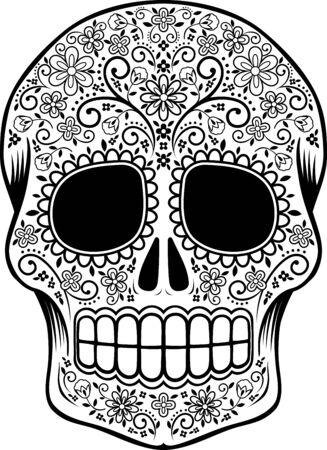 meksykańska czaszka cukrowa z kwiatami i elementami projektu na białym tle, może służyć do kolorowania książki, tatuażu dnia zmarłych (dia de muertos)