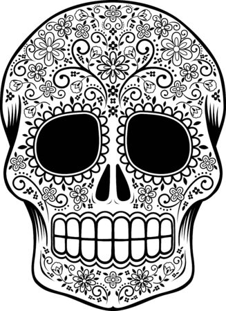 mexican sugar skull with flowers and design elements isolated on white, can be used for coloring book, day of the dead decoration (dia de muertos) tattoo