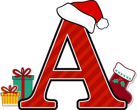 capital letter a with red santa's hat and christmas design elements isolated on white background. can be used for holiday season card, nursery decoration or christmas paty invitation Vector Illustratie