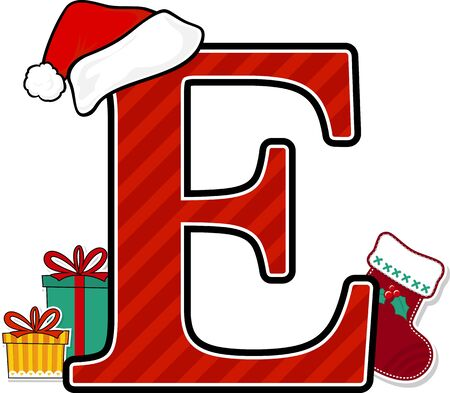 capital letter e with red santa's hat and christmas design elements isolated on white background. can be used for holiday season card, nursery decoration or christmas paty invitation Çizim