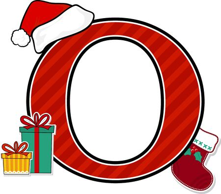 capital letter o with red santa's hat and christmas design elements isolated on white background. can be used for holiday season card, nursery decoration or christmas paty invitation
