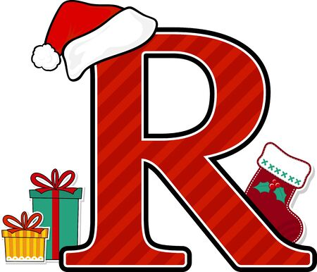 capital letter r with red santa's hat and christmas design elements isolated on white background. can be used for holiday season card, nursery decoration or christmas paty invitation