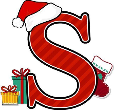 letra mayúscula s con sombrero rojo de santa y elementos de diseño navideño aislados sobre fondo blanco. Se puede utilizar para tarjetas de temporada navideña, decoración de guardería o invitación navideña.