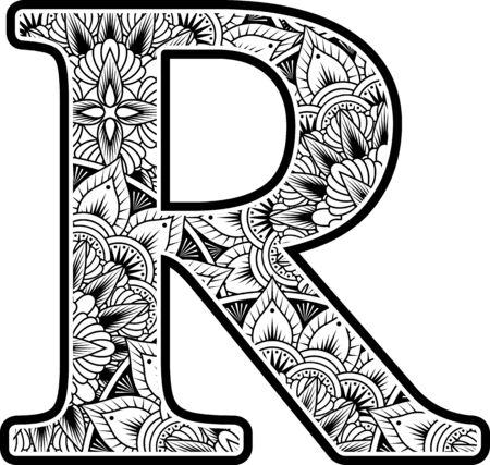 Wielka litera rz ornamentami streszczenie kwiaty w czerni i bieli. projekt inspirowany stylem mandali do kolorowania. Na białym tle