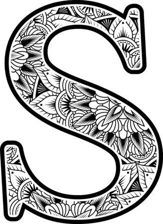 Großbuchstabe s mit abstrakten Blumenornamenten in Schwarzweiß. Design inspiriert vom Mandala-Kunststil zum Ausmalen. Isoliert auf weißem Hintergrund