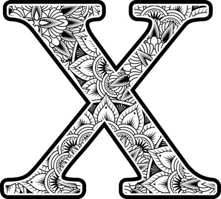 Großbuchstabe x mit abstrakten Blumenornamenten in Schwarz und Weiß. Design inspiriert vom Mandala-Kunststil zum Ausmalen. Isoliert auf weißem Hintergrund