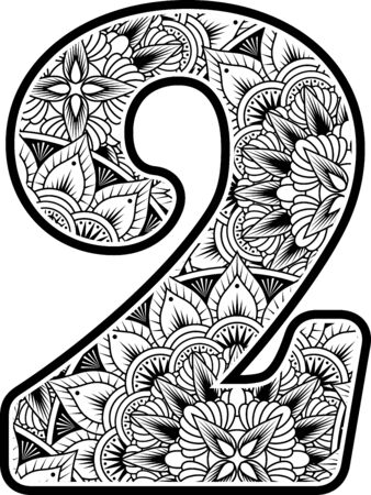 number 2 with abstract flowers ornaments in black and white. design inspired from mandala art style for coloring. Isolated on white background