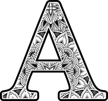 Großbuchstabe a mit abstrakten Blumenornamenten in Schwarz und Weiß. Design inspiriert vom Mandala-Kunststil zum Ausmalen. Isoliert auf weißem Hintergrund
