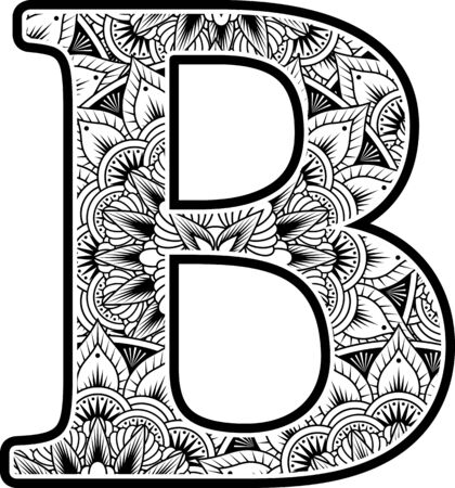 capital letter b with abstract flowers ornaments in black and white. design inspired from mandala art style for coloring. Isolated on white background