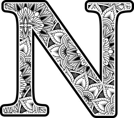 capital letter n with abstract flowers ornaments in black and white. design inspired from mandala art style for coloring. Isolated on white background