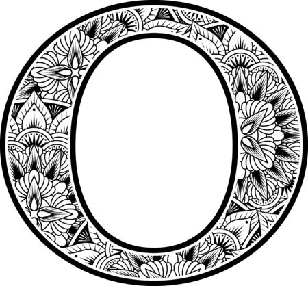 capital letter o with abstract flowers ornaments in black and white. design inspired from mandala art style for coloring. Isolated on white background Vector Illustration