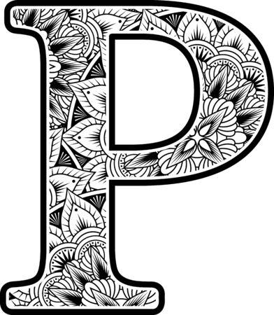 Großbuchstabe p mit abstrakten Blumenornamenten in Schwarzweiss. Design inspiriert vom Mandala-Kunststil zum Ausmalen. Isoliert auf weißem Hintergrund