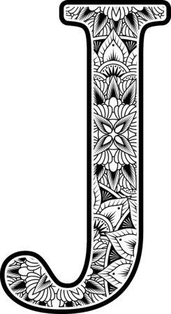 Großbuchstabe j mit abstrakten Blumenornamenten in Schwarzweiß. Design inspiriert vom Mandala-Kunststil zum Ausmalen. Isoliert auf weißem Hintergrund