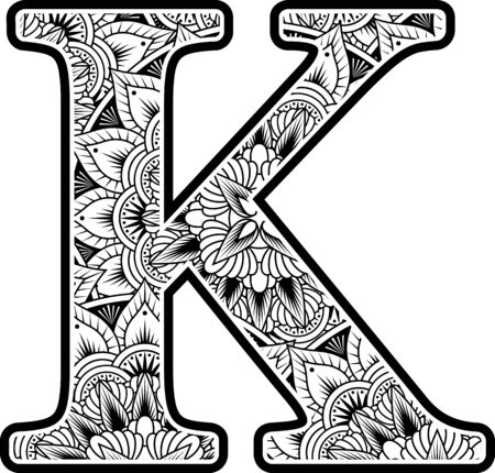 capital letter k with abstract flowers ornaments in black and white. design inspired from mandala art style for coloring. Isolated on white background