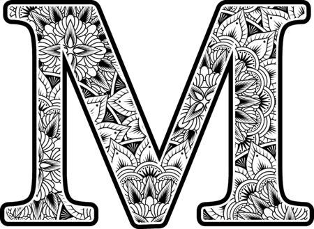 Großbuchstabe m mit abstrakten Blumenornamenten in Schwarzweiss. Design inspiriert vom Mandala-Kunststil zum Ausmalen. Isoliert auf weißem Hintergrund