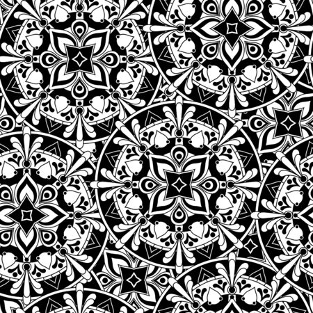 illustration of abstract flowers seamless pattern in black and white inspired on mandala art for coloring with geometric design elements  イラスト・ベクター素材