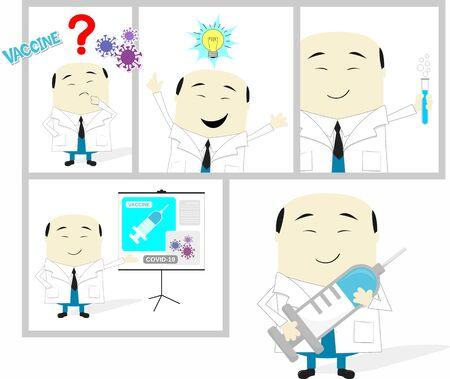 cartoon storyboard of asian scientist developing coronavirus vaccine. Isolated on white background