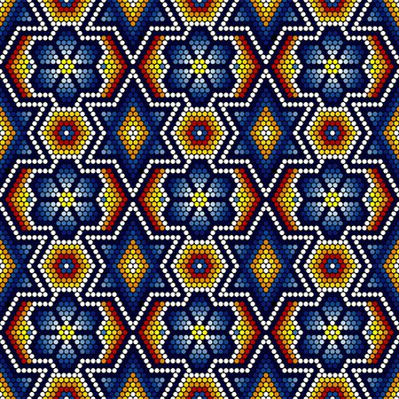 vector illustration of colorful abstract seamless pattern inspired in mexican huichol art style. Can be tiled