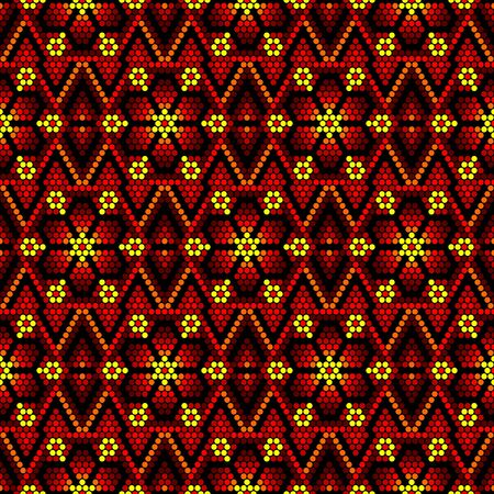 vector illustration of geometric seamless pattern inspired in mexican huichol art style. Can be tiled