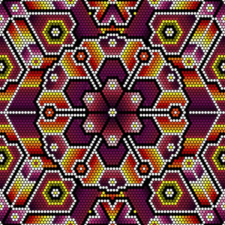 vector illustration of colorful seamless pattern inspired in mexican huichol art style. Can be tiled 向量圖像