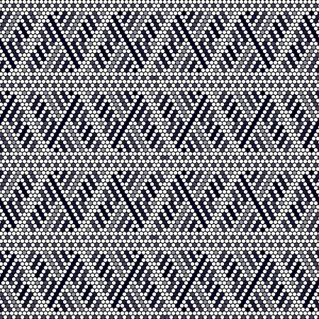 vector illustration of seamless pattern inspired in mexican huichol art style. Can be tiled