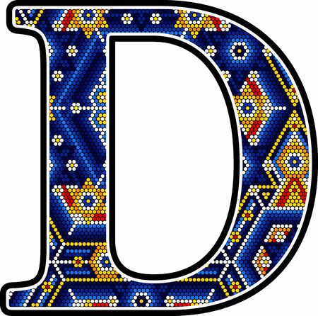 initial capital letter D with colorful dots. Abstract design inspired in mexican huichol craft art style. Isolated on white background