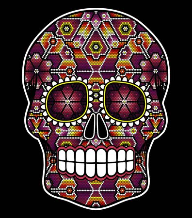 vector illustration of colorful beaded skull inspired in mexican huichol art and traditional sugar skull from Mexico. Popular symbol of