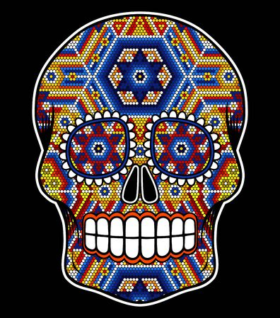 "vector illustration of colorful beaded skull inspired in mexican huichol art and traditional sugar skull from Mexico. Popular symbol of ""dia de muertos"". Isolated on black background"