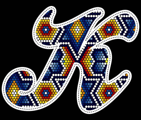 initial capital letter K with colorful dots. Abstract design inspired in mexican huichol beaded craft art style. Isolated on black background Ilustração