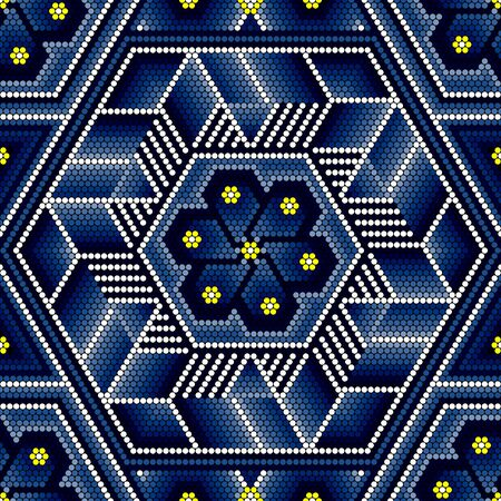 vector illustration of colorful abstract seamless pattern inspired in beaded handcraft from mexican huichol art style. Can be tiled 向量圖像