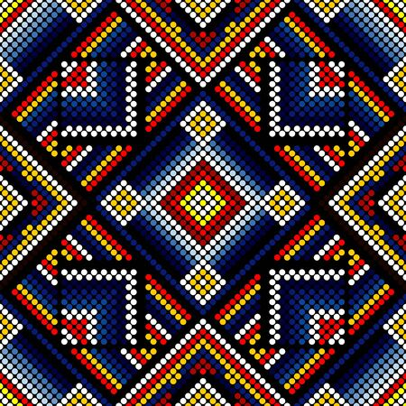 vector illustration of colorful abstract seamless pattern inspired in beaded handcraft from mexican huichol art style. Can be tiled Иллюстрация